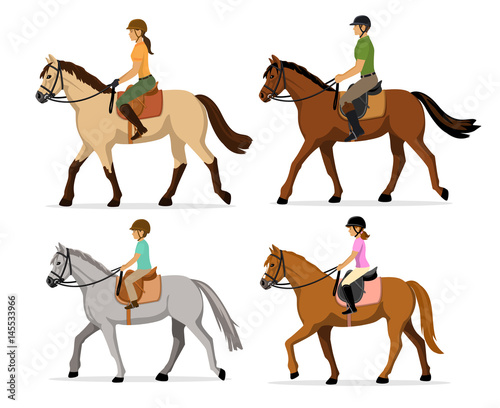 Photographie Man, Woman, Boy, Girl riding horses Vector Illustration Set, isolated