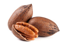 Three Pecan Nuts Isolated On W...