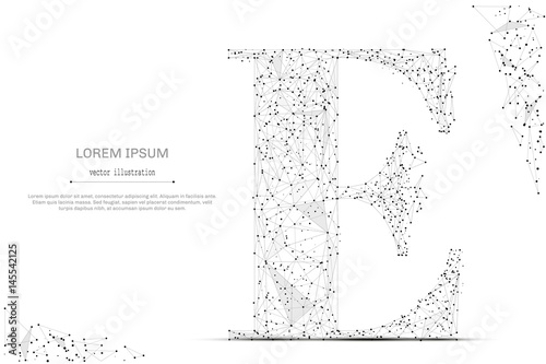 Abstract Mash Line And Point The Letter E On White Background With