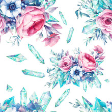 Watercolor Flowers With Gemsto...