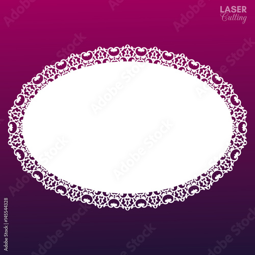 Laser Cut Oval Frame With Lace Border Greeting Card Template With