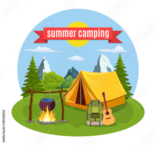 Fotobehang Indiërs Summer camp. Landscape with yellow tent,