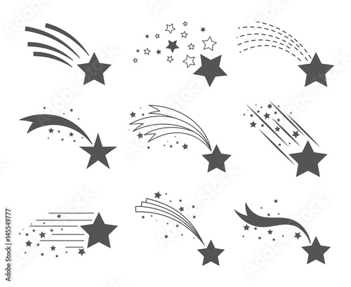Obraz Shooting stars with tails icons - fototapety do salonu