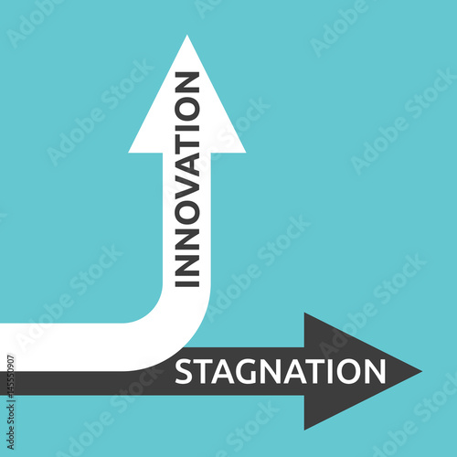 Photo  Innovation, stagnation arrows
