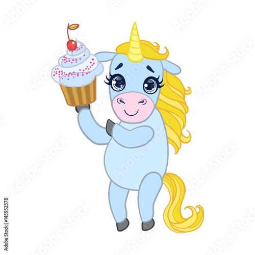 Deurstickers Pony Cartoon light blue lovely unicorn holding cupcake. Colorful vector character