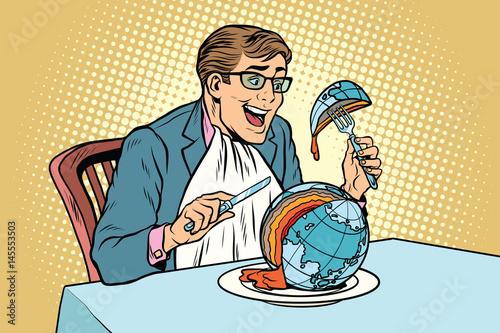Fotografie, Obraz  Politician eats the planet