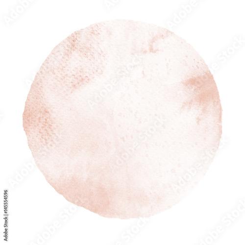 Valokuva  Watercolor abstract sopper tan circle on white