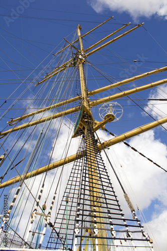rigging and mast of old ship in detail Canvas Print