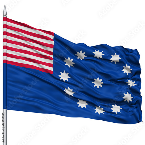 Fotografie, Obraz  Easton City Flag on Flagpole, Pennsylvania State, Flying in the Wind, Isolated o
