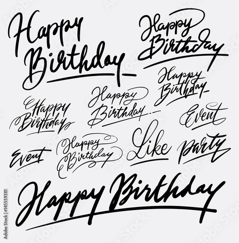 Happy birthday hand written typography  Good use for