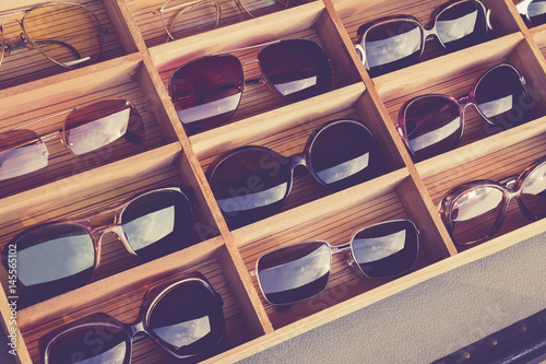Sunglasses Fashion display in wooden box Shop Hipster Lifestyle