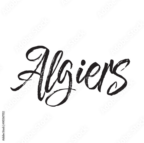 Photo algiers, text design. Vector calligraphy. Typography poster.