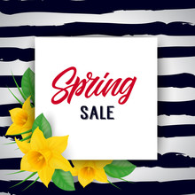 Spring Sale Lettering On Square