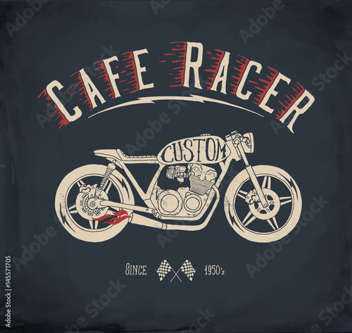 Cuadros en Lienzo Cafe Racer Motorcycle. Vintage hand drawn vector illustration.