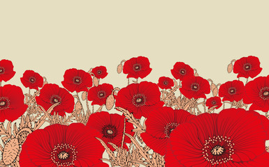 Naklejkastylized poppy flowers field in red and ivory shades