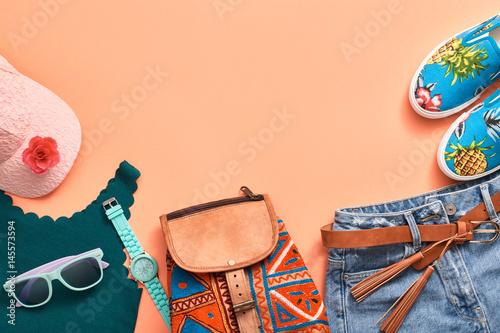 Obraz na plátně  Fashion Design Woman Clothes Accessories Set
