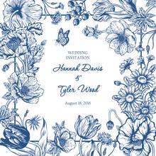 Bouquet Of Flowers. Floral Frame. Vector Illustration.