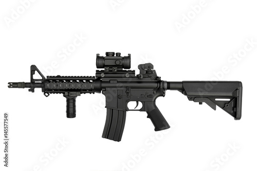 Fotografía  US Army weapon M4A1 carbine isolated on white background, Special forces rifle M4 with hand grip