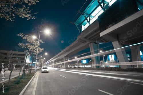 Fotobehang Tokyo City road surface floor with viaduct bridge