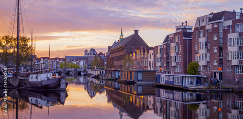 Printed kitchen splashbacks Eggplant Netherlands Leiden Galgewater, View of sunrise in the morning with houses along side the Galgewater canal with boats resting in the water