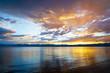 Dramatic sunset over the lake Hovsgol, Mongolia