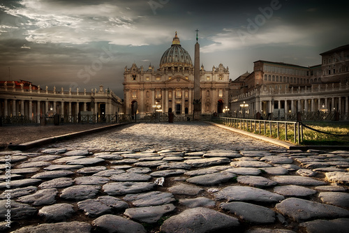 In de dag Rome Vatican at twilight