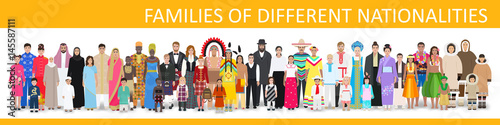 Fotografía  Families of different nationalities, vector illustration