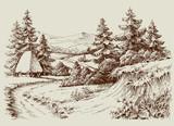 Rustykalny dom w alpejskim krajobrazie, relaks i turystyka - 145587952
