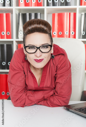 Angry displeased business woman in office Poster