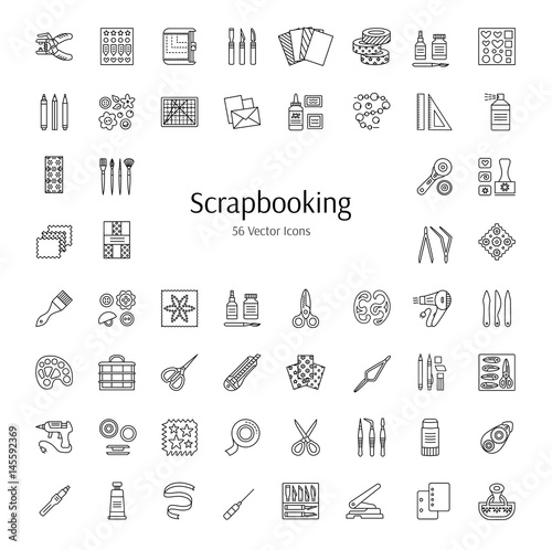 Scrapbooking vector line icons. Tools and accessories for scrap decorations of albums, books and cards. Handmade hobby Wall mural