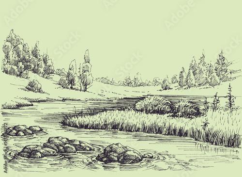 River flow, nature landscape Fototapeta
