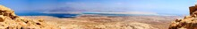 Panoramic Lanscape Of Judaean Desert And Dead Sea. View From Massada Fortress