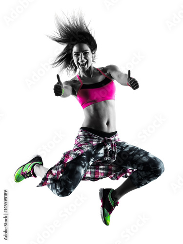 Fototapeta na wymiar one caucasian woman zumba fitness exercises dancer dancing isolated in silhouette on white background