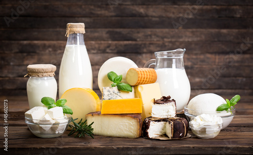 Tuinposter Zuivelproducten Various dairy products