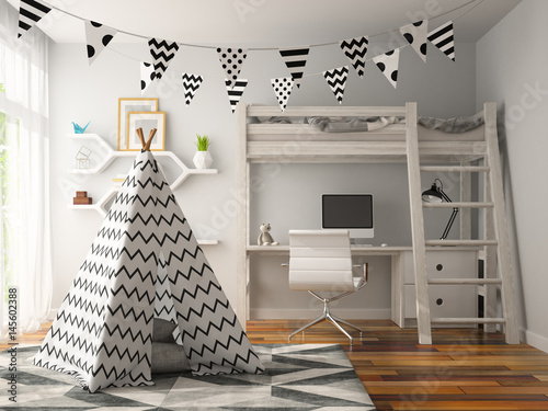 part of Interior with wigwam 3D rendering Fotobehang