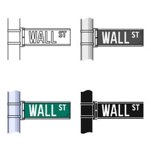 Wall Street Sign Icon In Cartoon Style Isolated On White Background. Money And Finance Symbol Stock Vector Illustration.