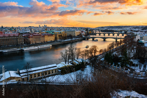 Photo Cityscape in Prague with view on river Elbe, Czech