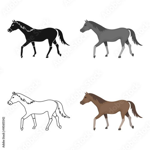 In de dag Art Studio Horse icon in cartoon style isolated on white background. Hippodrome and horse symbol stock vector illustration.