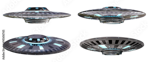 Vintage UFO collection isolated on white background 3D rendering