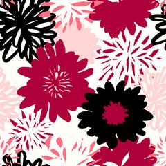 Tapeta Hand Drawn Flowers Seamless Pattern
