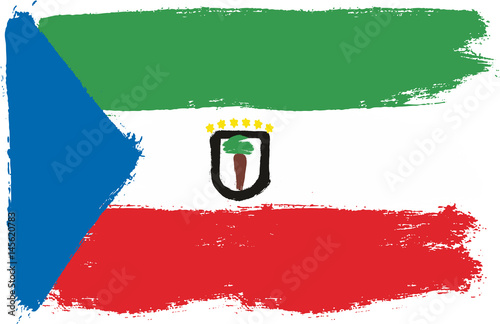 Fotografía  Equatorial Guinea Flag Vector Hand Painted with Rounded Brush