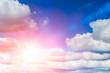 Leinwandbild Motiv blue sun sky. sunny day summer season.