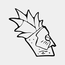 Hand Drawn Totem Face Symbol