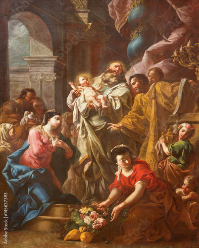 Fotomural TURIN, ITALY - MARCH 16, 2017: The painting of Presentation of Jesus at the Temple in church Chiesa di San Massimo by unknown artist of 17