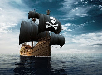 Statek piracki na pełnym morzu