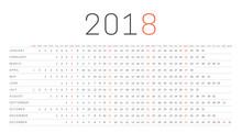 Simple Calendar 2018. Week Sta...