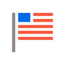 Minimal USA Flag Icon. Unaited...