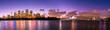 Sydney Opera House and Sydney Harbour Bridge illuminated at dusk