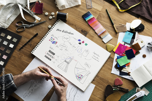 Fotografie, Obraz  Fashion Designer Sketch Drawing Costume Concept