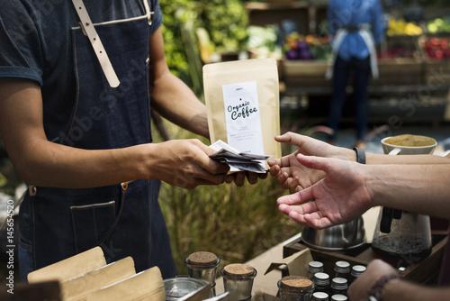 Fotografie, Obraz People at healthy local food festive